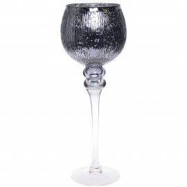 Szklany wazon wysoki szary w prążki 40cm
