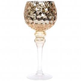 Szklany wazon niski złoty glamour wytłaczany 30cm