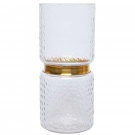 Szklany wysoki wazon przezroczysty ze złotym paskiem 27cm