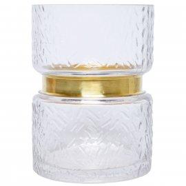 Szklany niski wazon przezroczysty ze złotym paskiem 17cm