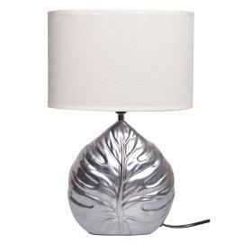 Lampa ceramiczna Liść srebrna z beżowym abażurem 39cm