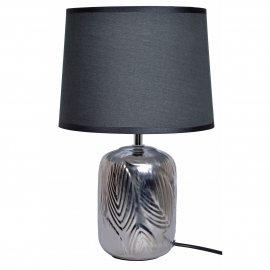 Lampa ceramiczna srebrna z czarnym abażurem 37cm