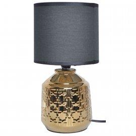 Lampa ceramiczna złota wytłaczana z czarnym abażurem 37cm