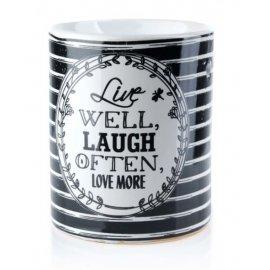Kominek na olejek zapachowy 8,5x10cm Live WELL LAUGH OFTEN biało-czarny