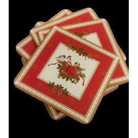 Kpl 6 podstawek korkowych Spitit of Xmas świąteczne