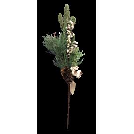 Gałązka z szyszką biało - szara sztuczna 47cm