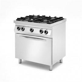 Kuchnie gazowe 4 – palnikowe, na podstawie z trzech stron zamkniętej z piekarnikiem elektrycznym.