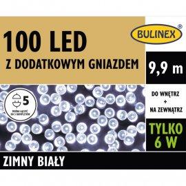 Lampki LED 100 Białe z zasilaczem BULINEX