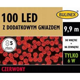 Lampki LED 100 Czerwone z zasilaczem BULINEX