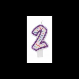 Świeczka urodzinowa Cyferka 2 IMPREZKA
