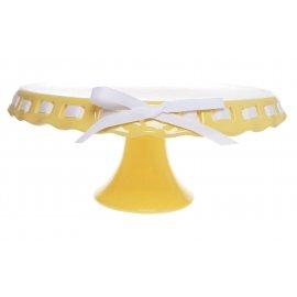 Żółta patera na nóżce ze wstążką Ø25cm na Wielkanoc
