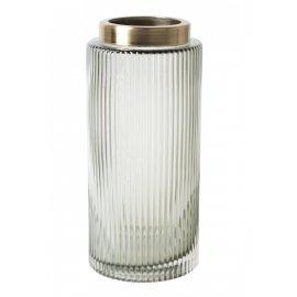 Szklany szary wazon przezroczysty ze złotym rantem 26,5cm