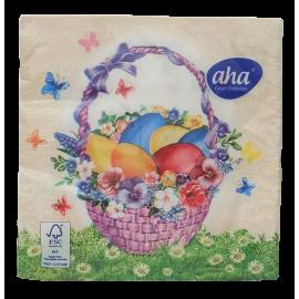 Serwetki stołowe Wielkanoc Kosz jajek z kwiatami AHA