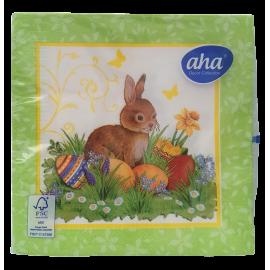 Serwetki stołowe Wielkanoc Zając i jajka na trawie AHA