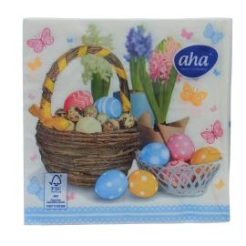 Serwetki stołowe Wielkanoc Pisanki w koszach AHA