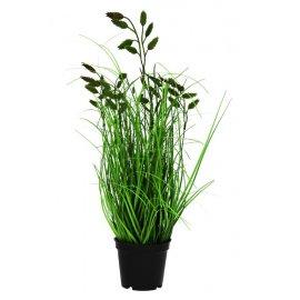 Sztuczna trawa w donicy z listkami 40 cm SACO