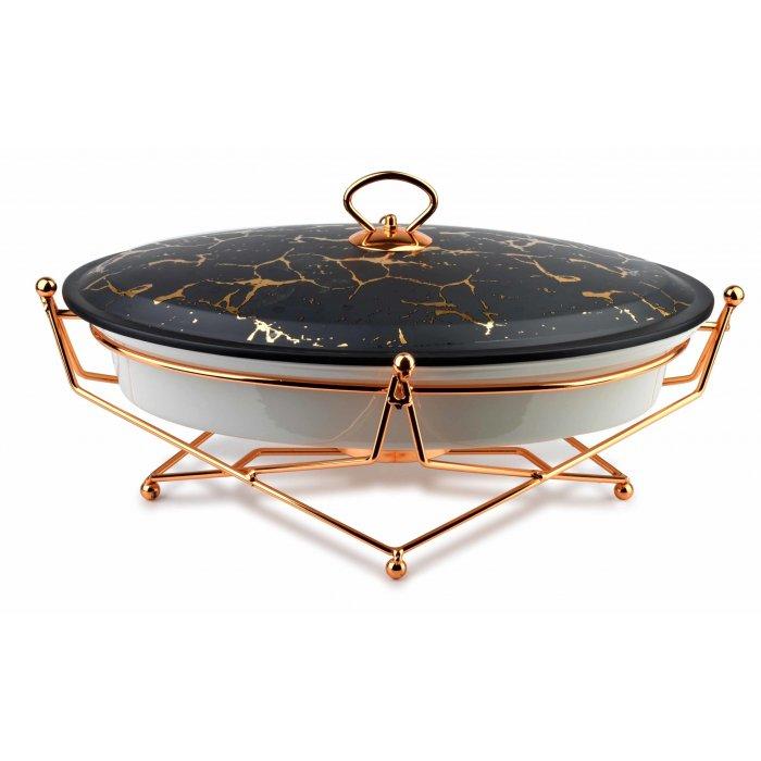 Naczynie z podgrzewaczem owalne Elegant Kitchen czarne