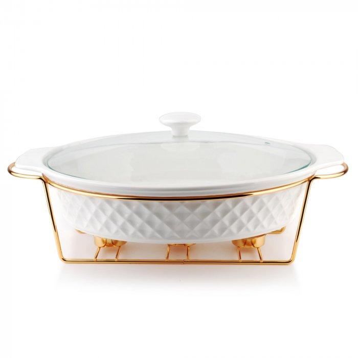 Naczynie z podgrzewaczem ceramiczne Diament białe