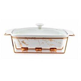 Naczynie podgrzewacz prostokąt Elegant Kitchen białe