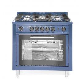 Kuchnia gazowa 5-palnikowa z konwekcyjnym piekarnikiem elektrycznym i z grillem, niebieska