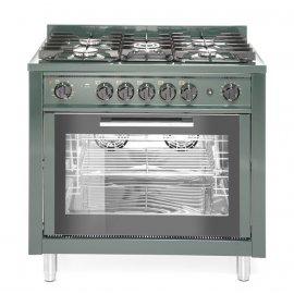 Kuchnia gazowa 5-palnikowa z konwekcyjnym piekarnikiem elektrycznym i z grillem, zielona